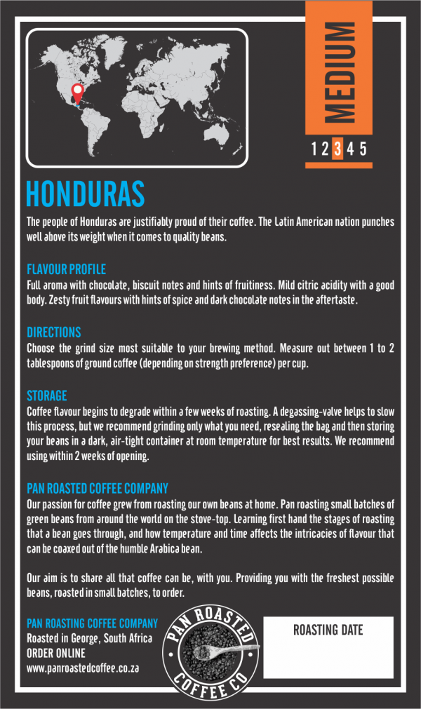 Single Origin Honduras back cover